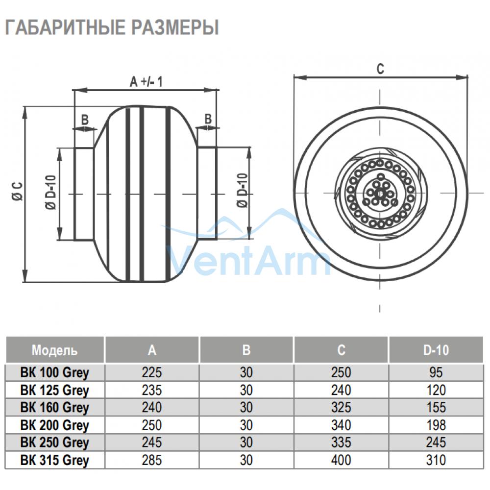 Канальный вентилятор Airone ВК Grey 100
