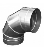 Отвод для круглых воздуховодов из оцинкованной стали 125 мм 90°