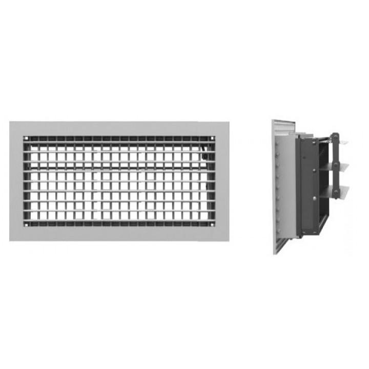 Вентиляционная алюминиевая решетка двухрядная с клапаном Арктос АДР 300x150