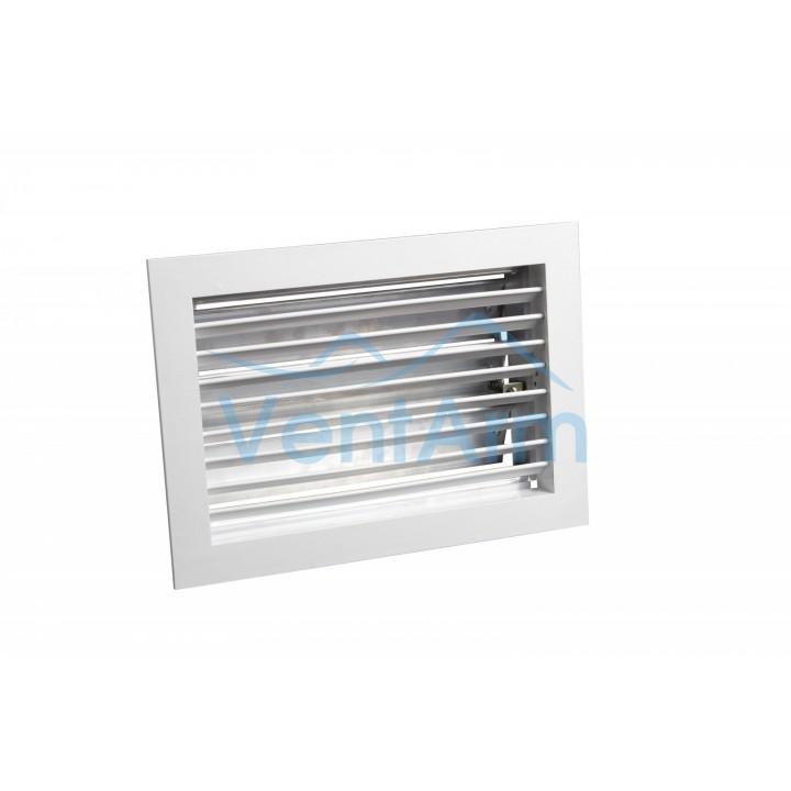 Вентиляционная алюминиевая решетка однорядная с клапаном Арктос АМР 400x200