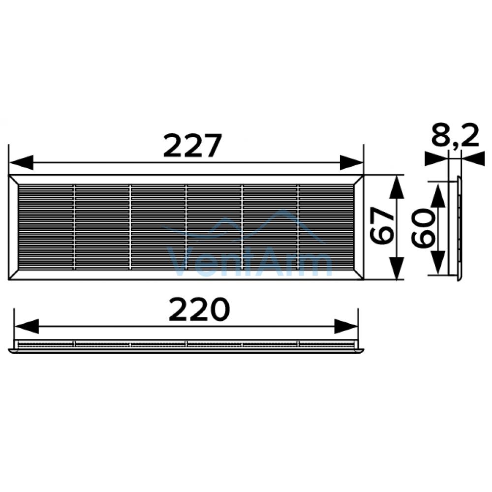 Решетка вентиляционная ERA 2307ДП 227х67 Бежевая