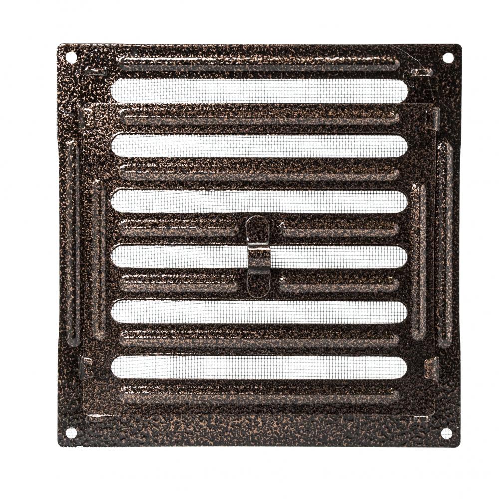 Решетка металлическая с ручкой Ванвент  20х20 Антик медь