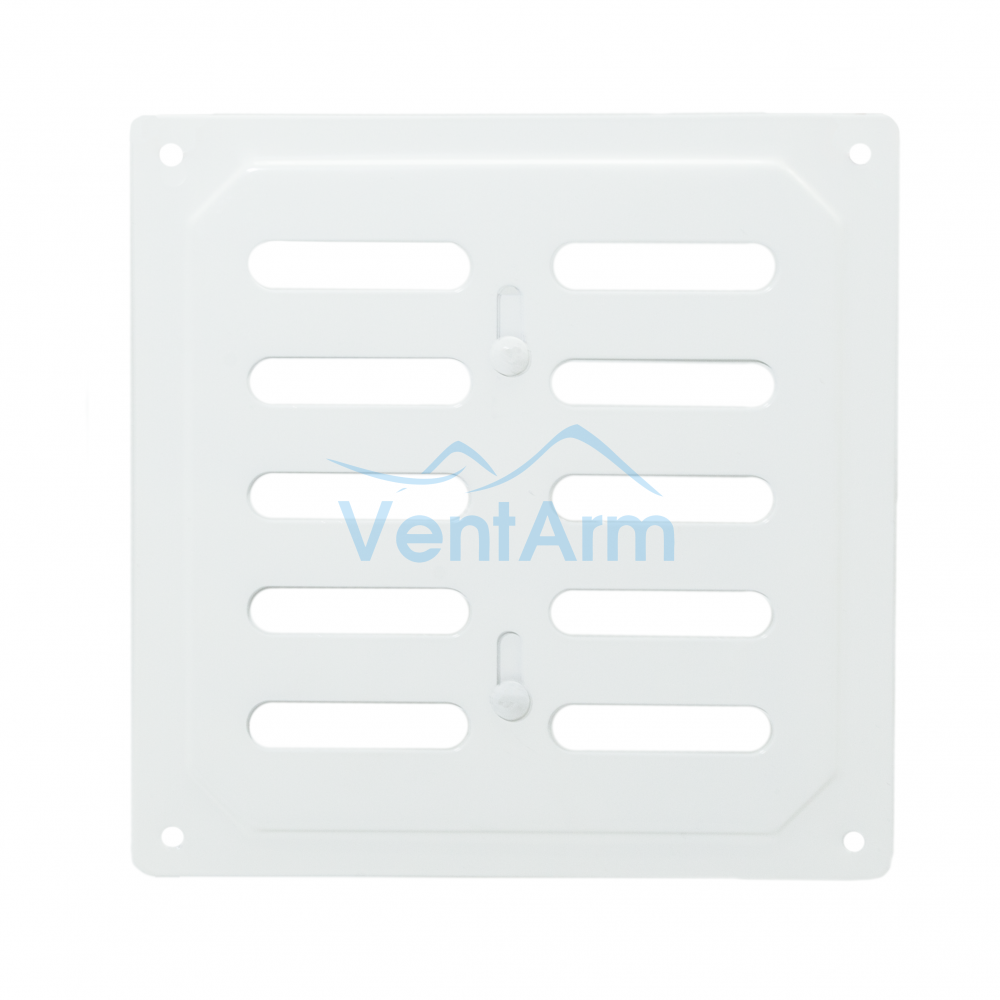 Металлическая решетка с задвижкой 16х16 Белый