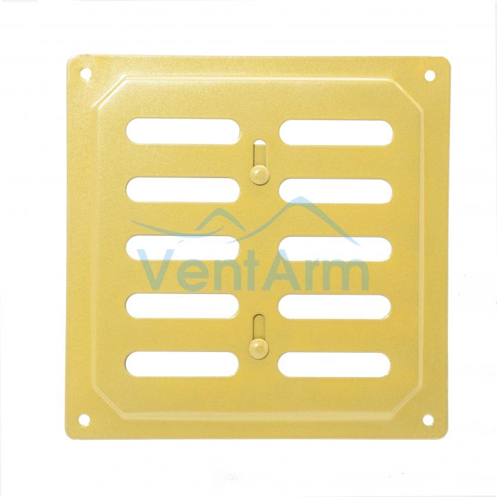 Решетка металлическая с задвижкой Ванвент 16х16 Золото
