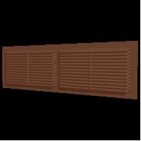 Вентиляционная решётка переточная разъёмная с фланцем 455х133 Коричневый