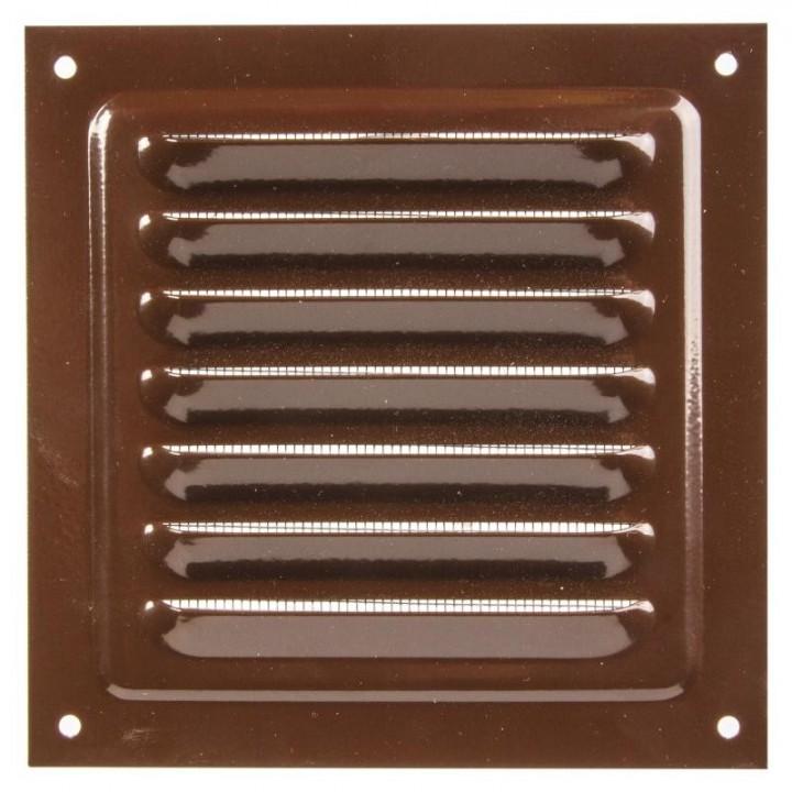 Металлическая решетка с сеткой МВМ 300х300 Коричневый